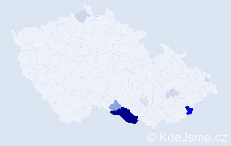 Příjmení: 'Dabergerová', počet výskytů 25 v celé ČR