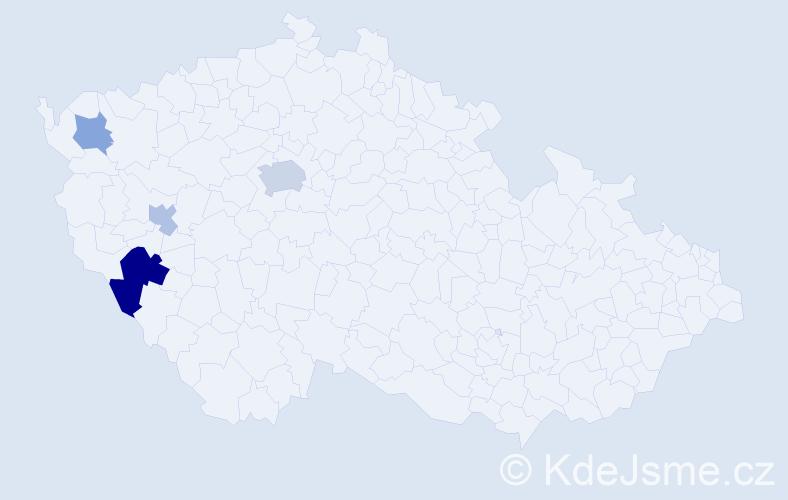 Příjmení: 'Heidelberger', počet výskytů 8 v celé ČR