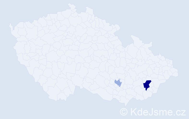 Příjmení: 'Dernie', počet výskytů 3 v celé ČR