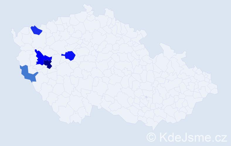 Příjmení: 'Habžanská', počet výskytů 12 v celé ČR