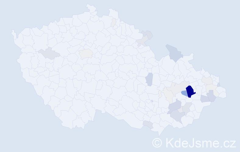 Příjmení: 'Hapala', počet výskytů 99 v celé ČR