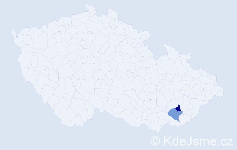 Příjmení: 'Ďubalová', počet výskytů 5 v celé ČR