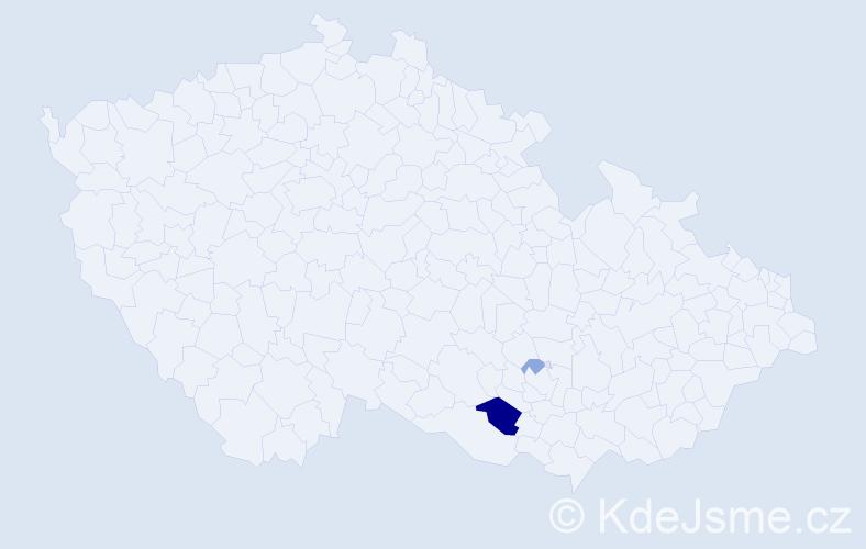 Příjmení: 'Gaucan', počet výskytů 6 v celé ČR