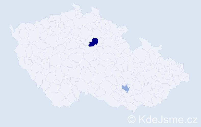 Příjmení: 'Abadžievová', počet výskytů 5 v celé ČR