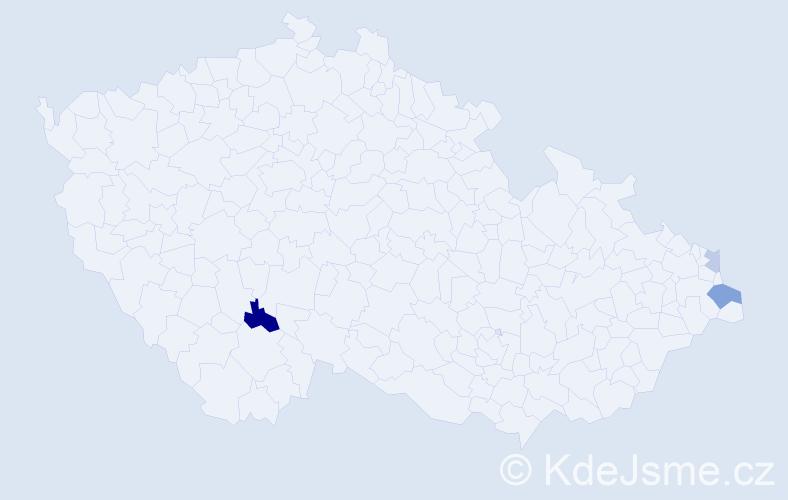 Příjmení: 'Bában', počet výskytů 5 v celé ČR