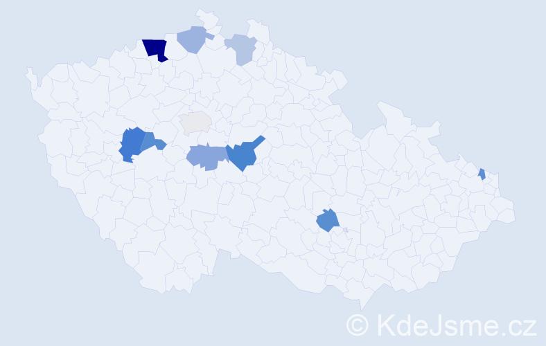 Příjmení: 'Dubčeková', počet výskytů 18 v celé ČR
