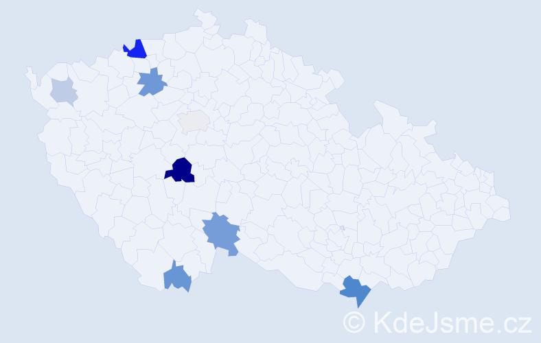 Příjmení: 'Kicl', počet výskytů 18 v celé ČR
