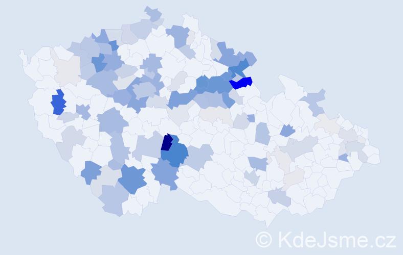 Příjmení: 'Kačerová', počet výskytů 400 v celé ČR