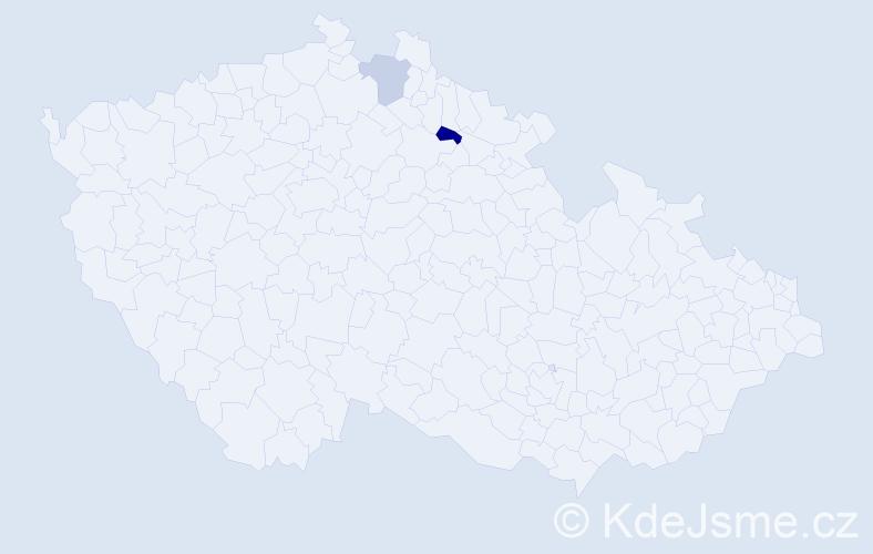 Příjmení: 'Dulebová', počet výskytů 5 v celé ČR