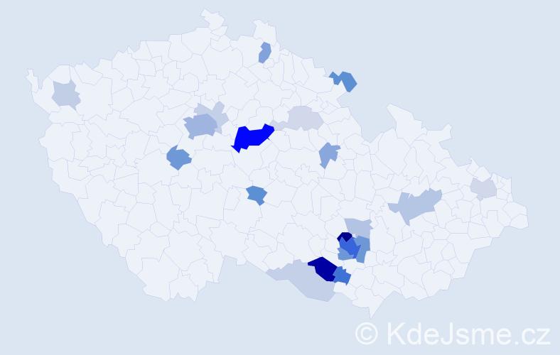 Příjmení: 'Kozdera', počet výskytů 68 v celé ČR