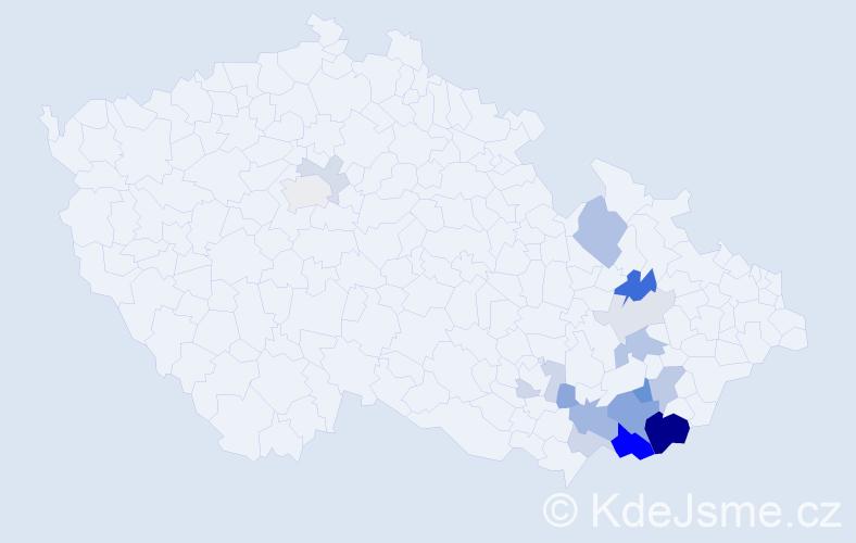 Příjmení: 'Jeglová', počet výskytů 44 v celé ČR
