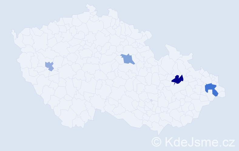Příjmení: 'Hromulák', počet výskytů 5 v celé ČR