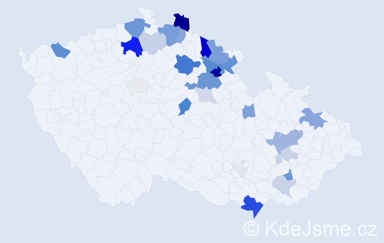 Příjmení: 'Kober', počet výskytů 74 v celé ČR