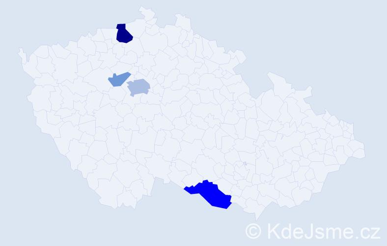 Příjmení: 'Lander', počet výskytů 9 v celé ČR