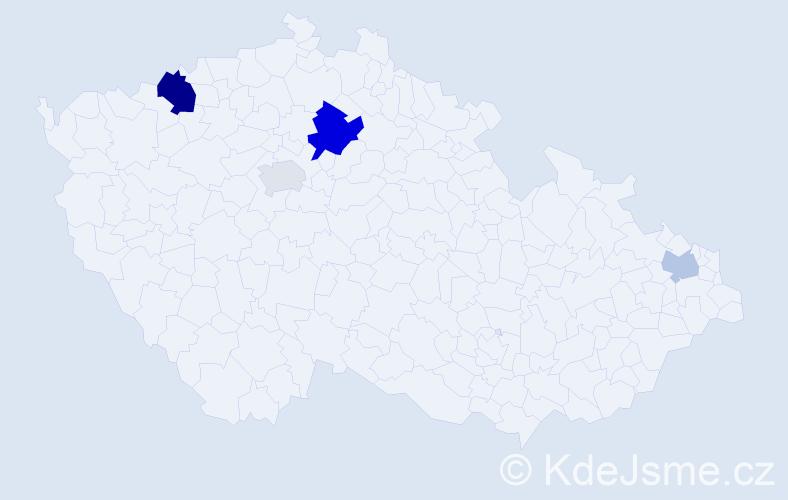 Příjmení: 'Ďurčovič', počet výskytů 8 v celé ČR