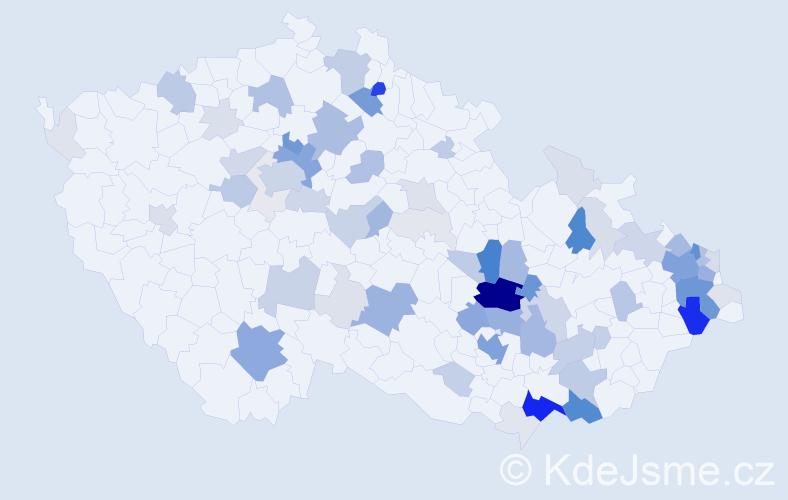Příjmení: 'Kočvara', počet výskytů 320 v celé ČR