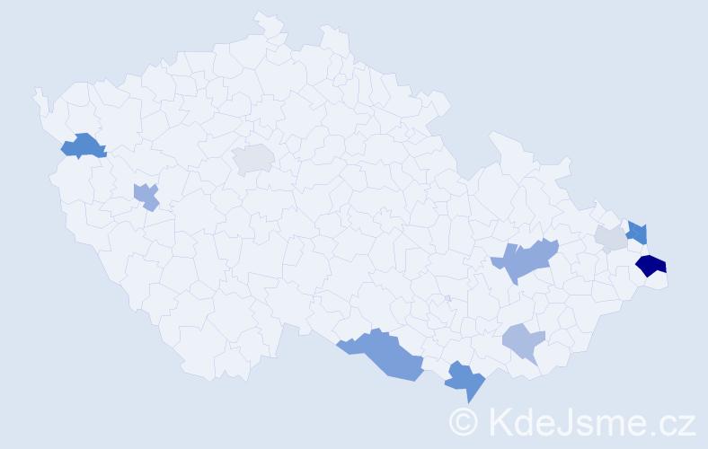 Příjmení: 'Gaszczyková', počet výskytů 23 v celé ČR