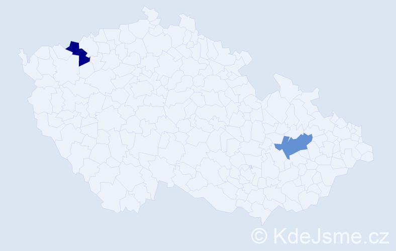 Příjmení: 'Hreben', počet výskytů 2 v celé ČR