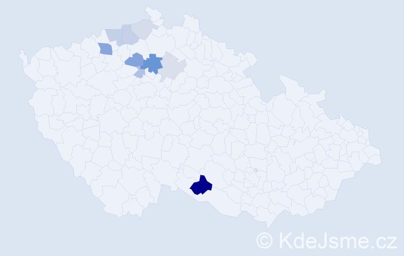 Příjmení: 'Čos', počet výskytů 23 v celé ČR