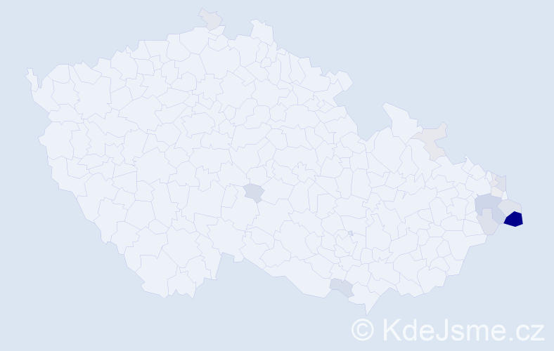 Příjmení: 'Chybidziurová', počet výskytů 40 v celé ČR