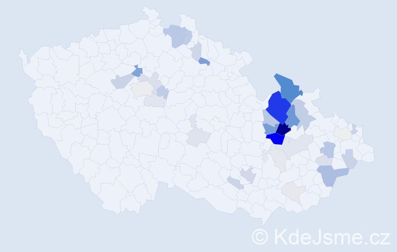 Příjmení: 'Kamlerová', počet výskytů 121 v celé ČR