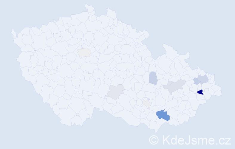 Příjmení: 'Gengela', počet výskytů 30 v celé ČR