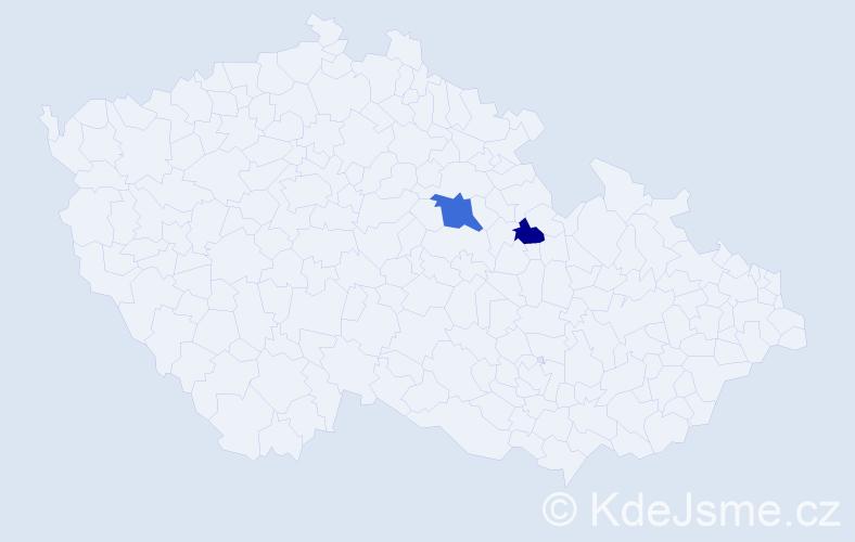Příjmení: 'Kopčaková', počet výskytů 3 v celé ČR