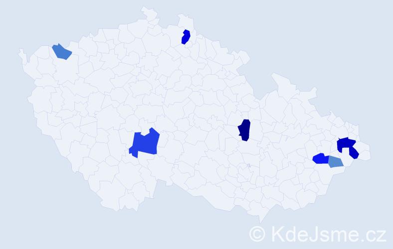 Příjmení: 'Gajdácsová', počet výskytů 17 v celé ČR