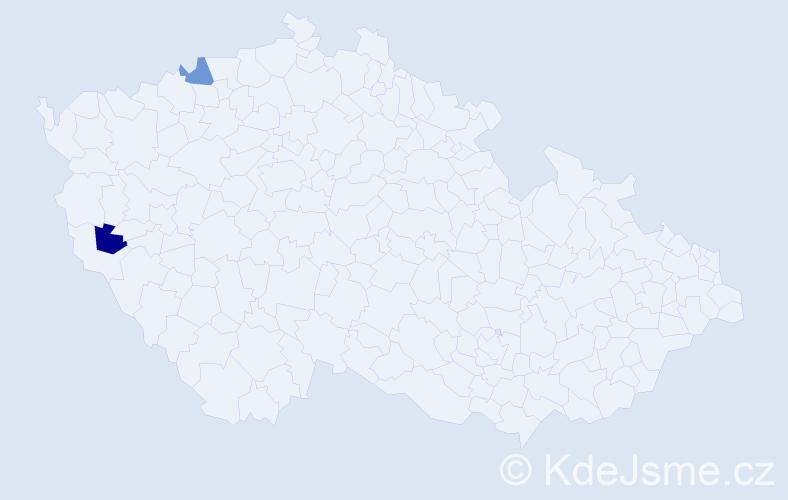 Příjmení: 'Jobstová', počet výskytů 2 v celé ČR