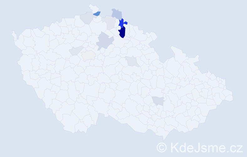 Příjmení: 'Fleknová', počet výskytů 27 v celé ČR