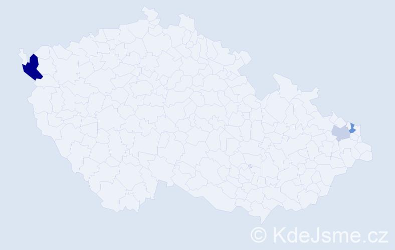 Příjmení: 'Ciniková', počet výskytů 5 v celé ČR