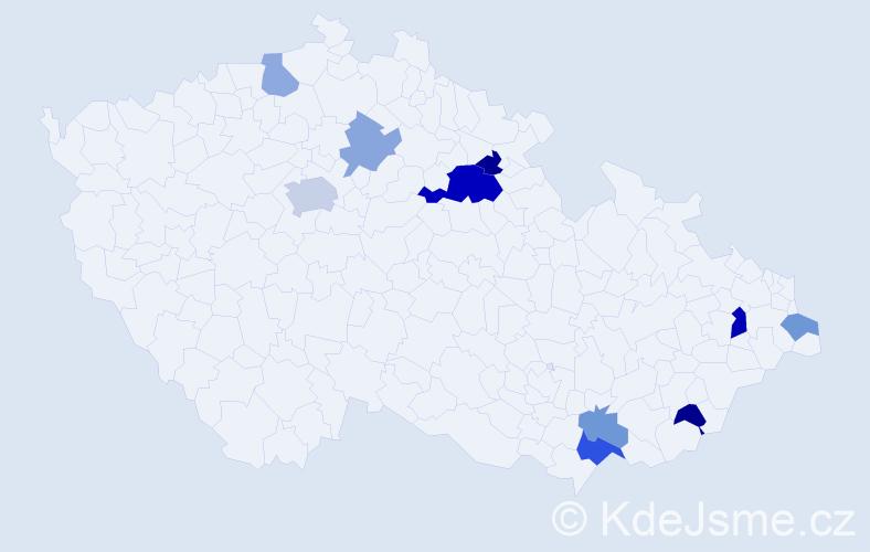 Příjmení: 'Chochrunová', počet výskytů 18 v celé ČR