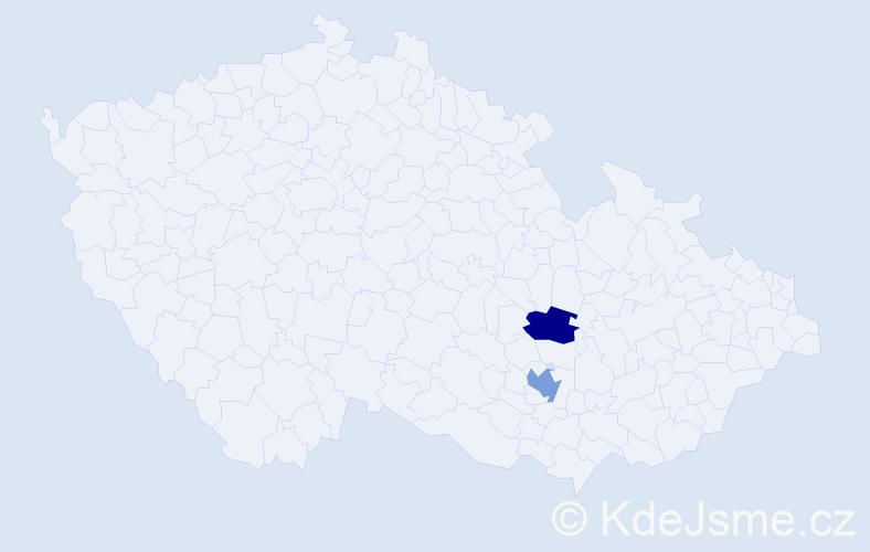 Příjmení: 'Danácová', počet výskytů 7 v celé ČR