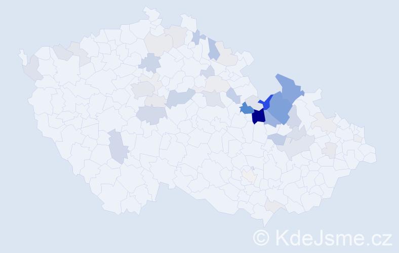 Příjmení: 'Kuběnka', počet výskytů 130 v celé ČR