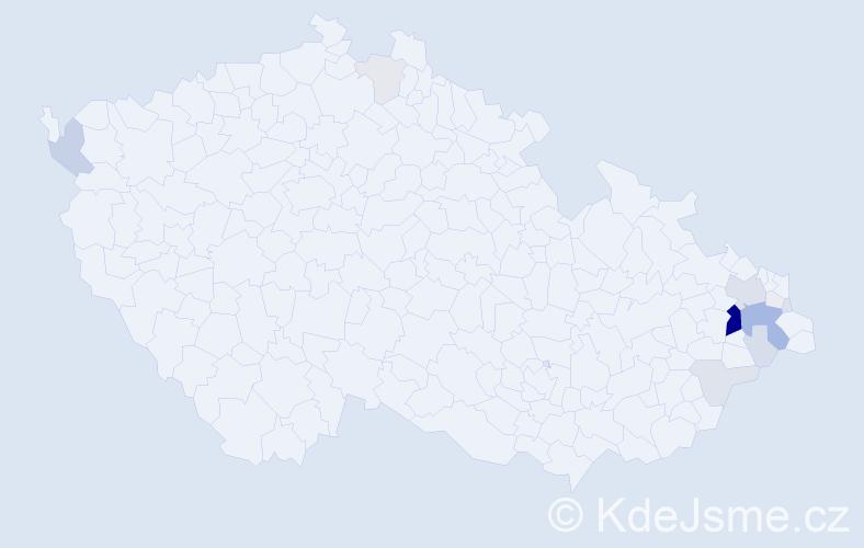 Příjmení: 'Lys', počet výskytů 66 v celé ČR