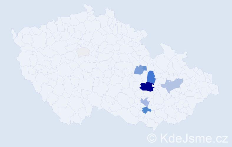 Příjmení: 'Kejdušová', počet výskytů 21 v celé ČR