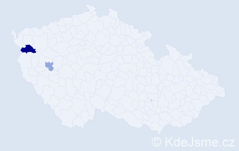 Příjmení: 'Daneziev', počet výskytů 2 v celé ČR