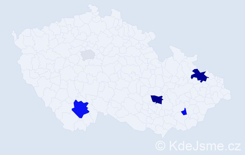 Příjmení: 'Habina', počet výskytů 10 v celé ČR