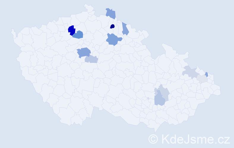 Příjmení: 'Adamička', počet výskytů 43 v celé ČR