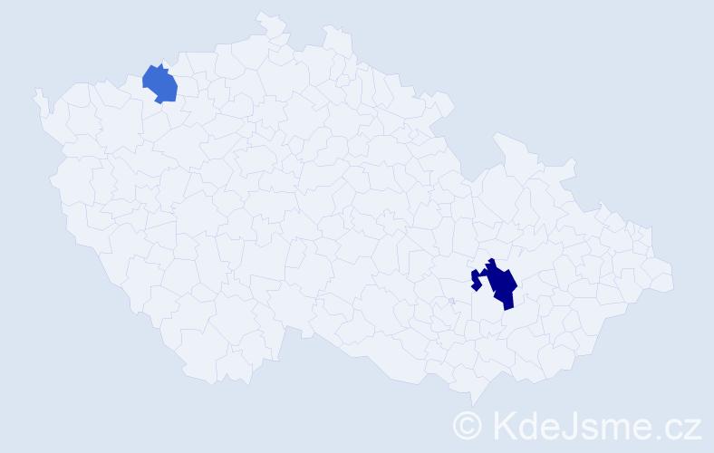 """Příjmení: '""""In Santi""""', počet výskytů 3 v celé ČR"""