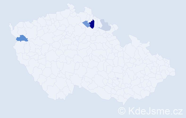 Příjmení: 'Lábek', počet výskytů 10 v celé ČR