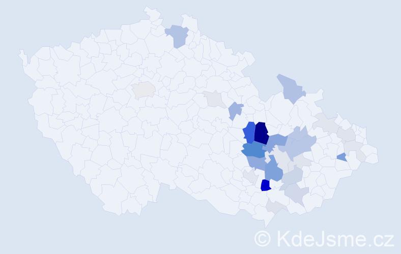 Příjmení: 'Jachanová', počet výskytů 82 v celé ČR