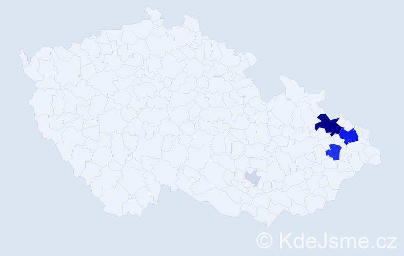 Příjmení: 'Kakalejčíková', počet výskytů 17 v celé ČR