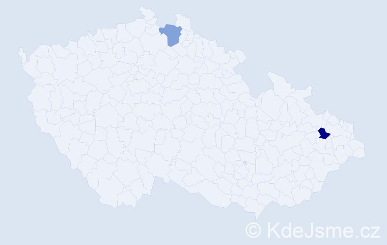 Příjmení: 'Kloudan', počet výskytů 2 v celé ČR