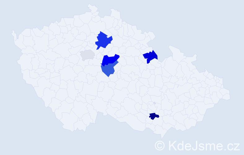 Příjmení: 'Jecelín', počet výskytů 8 v celé ČR