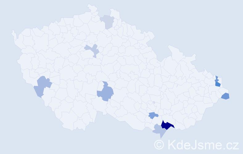 Příjmení: 'Halabrin', počet výskytů 22 v celé ČR