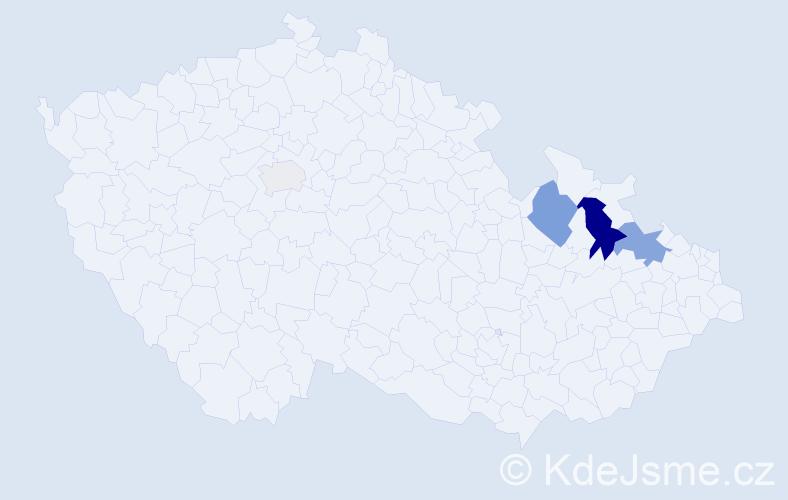 Příjmení: 'Cojocaru', počet výskytů 9 v celé ČR