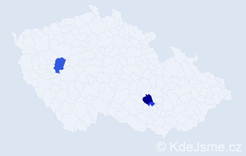 Příjmení: 'Čikov', počet výskytů 5 v celé ČR