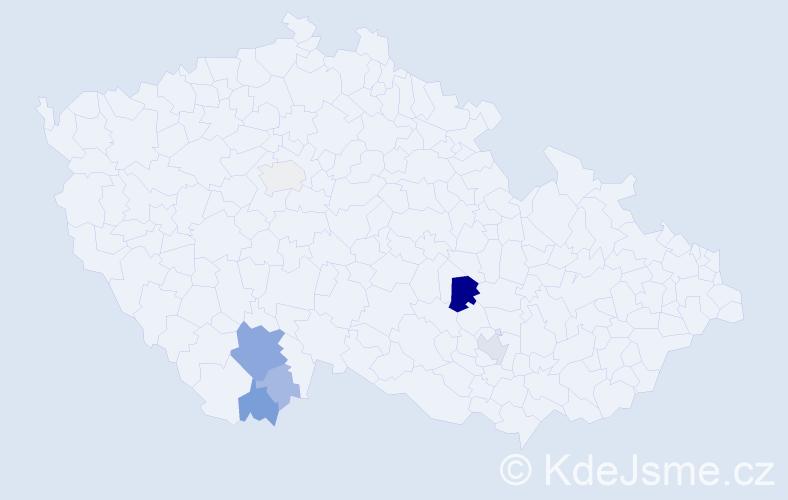 Příjmení: 'Exlová', počet výskytů 23 v celé ČR