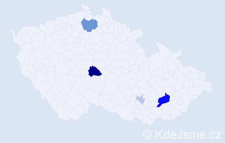 Příjmení: 'Dvorčáková', počet výskytů 5 v celé ČR